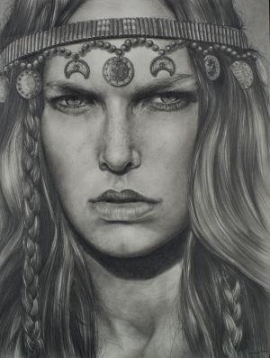 Gypsy Eyes, Graphite/Paper, 9x12